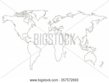 World Map, Black Line. Flat Earth, Globe, Worldmap. Travel Worldwide Concept. Map Silhouette Templat