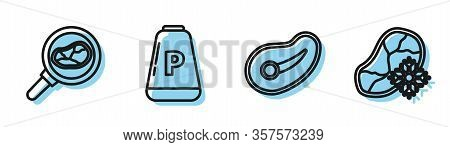 Set Line Steak Meat, Steak Meat In Frying Pan, Pepper And Fresh Frozen Steak Meat Icon. Vector