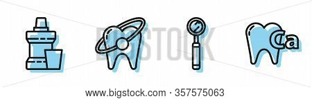 Set Line Dental Inspection Mirror, Mouthwash Plastic Bottle, Tooth Whitening Concept And Calcium For