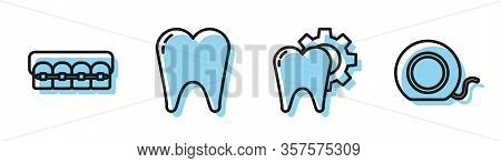 Set Line Tooth Treatment Procedure, Teeth With Braces, Tooth And Dental Floss Icon. Vector