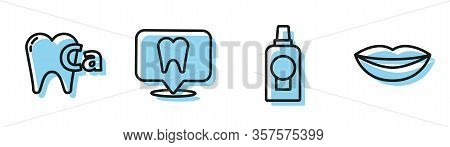 Set Line Mouthwash Plastic Bottle, Calcium For Tooth, Dental Clinic Location And Smiling Lips Icon.