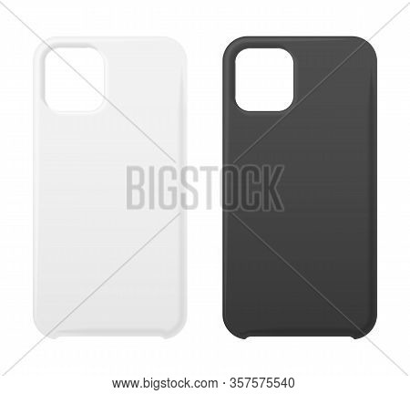 Empty Phone Black And White Cover Smartphone Blank Case Mockup Designs Isolated On White. Simple Cel