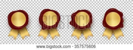 Realistic Red Wax Stamp With Gold Ribbon. Set On Transparent Backdrop. Waxing Rubber Vintage Sealing