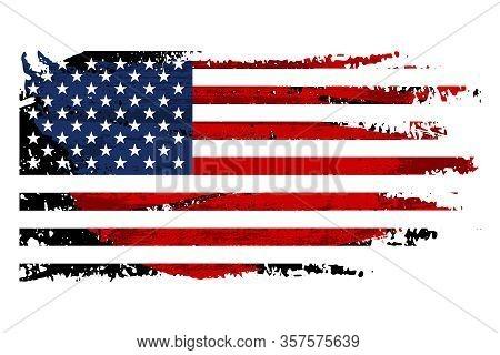 Vintage Usa Flag Illustration. Vector American Flag On Grunge Texture