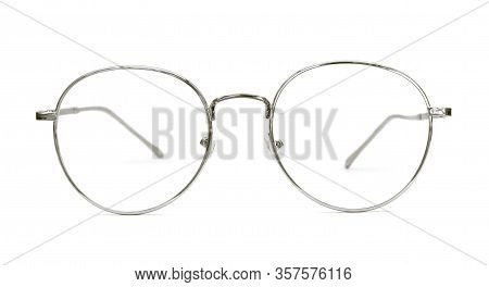 Modern Silver Nerd Glasses With Metal Frame. Isolated Object On White Background.