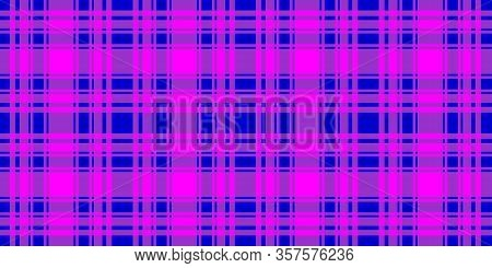 Checkered Horizontal Seamless Pattern. Blue And Fuchsia Trend Color Striped Background. Vector Stock