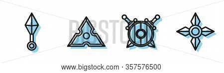 Set Line Wooden Shield With Crossed Swords, Japanese Ninja Shuriken, Japanese Ninja Shuriken And Jap