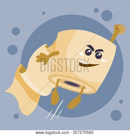 Toilet Paper Roll In A Hurry To Help With His Hand Held High, Character, Object Is Gray On A White B