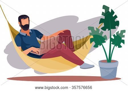 A Man Works Remotely On A Computer, Lies In A Hammock, Coziness, Comfort, Freelance, Vector Illustra