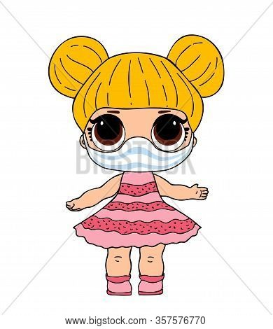 Lol Doll In Medical Mask. Vector L.o.l Toy For Covid, Corona Virus Design