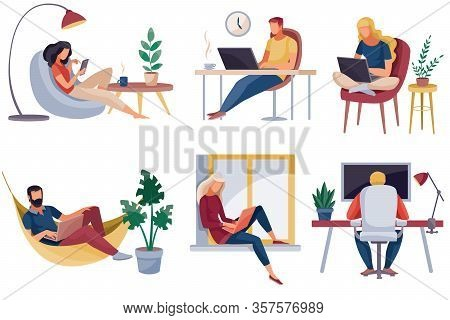 Set Of People Who Work At Home, In The Office, They Are Sitting In A Chair On A Chair And At The Win