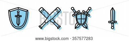 Set Line Medieval Shield With Crossed Swords, Medieval Shield With Sword, Crossed Baseball Bat And M