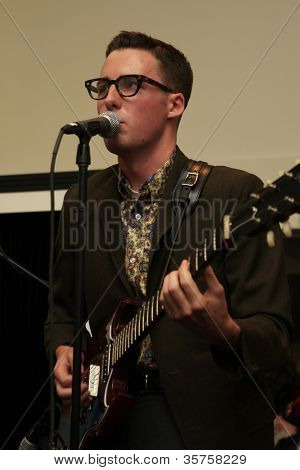LOS ANGELES - AUG 3: Nick Waterhouse  at the opening of the 'Pinup Girl Boutique' on August 3, 2012 in Burbank, California