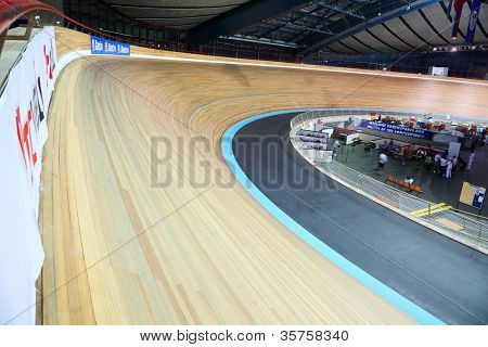 MOSCOW - AUGUST 19: Cycling track at UCI juniors track world championships on August 19, 2011 in Moscow, Russia.