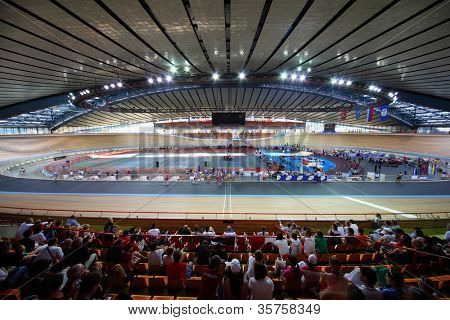 MOSCOW - AUGUST 19: Cycle race track at stadium before UCI juniors track world championships on August 19, 2011 in Moscow, Russia.