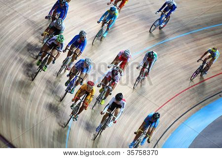 MOSCOW - AUGUST 19: Competitors at UCI juniors track world championships on August 19, 2011 in Moscow, Russia.