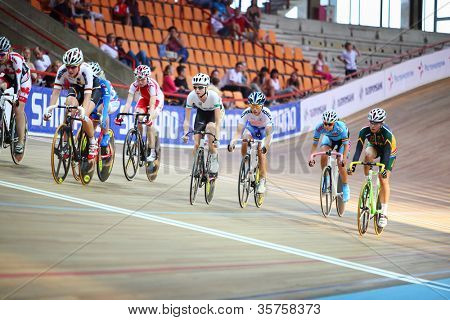 MOSCOW - AUGUST 19: Female cyclists at UCI juniors track world championships on August 19, 2011 in Moscow, Russia.