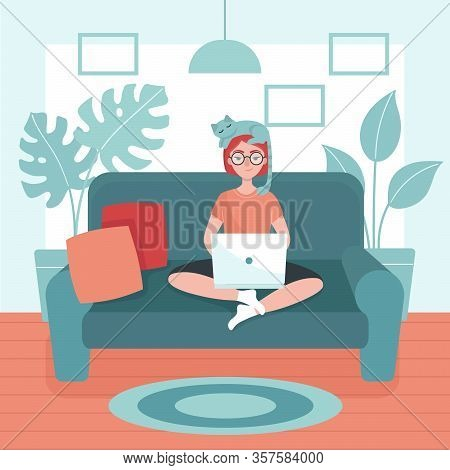 Young Woman With Laptop Sitting On A Sofa. Concept Of Freelance, Telework, Distance Job, Temporary I