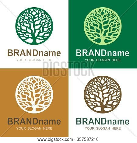 Set Of Logos With A Round Tree Of Life. Green Branches Without Leaves And Trunk. Eco Icon, Sign, Sym