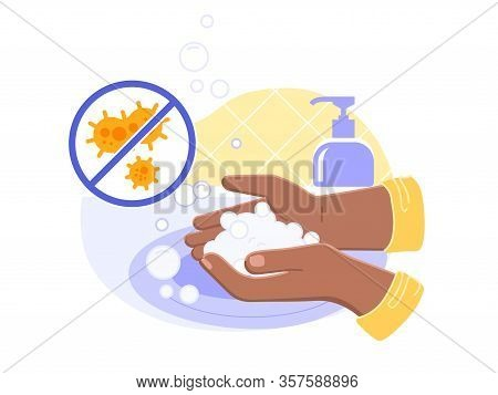 Black Or Brown Person Washing Hands In Sink Carefully And With Soap Foam From Dispenser Close Up.