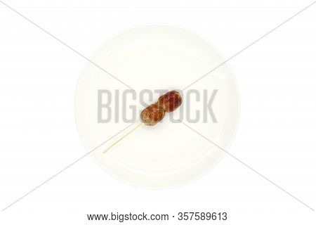 Thai Style Sausage,pork Sausage Or Thai East Sausage. Sausage On White Background. Isolated On The W