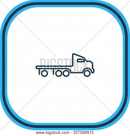 Illustration Of Flatbed Truck Icon Line. Beautiful Transportation Element Also Can Be Used As Wrecke