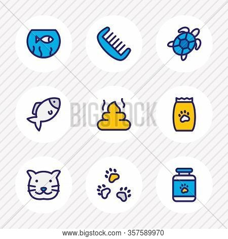 Vector Illustration Of 9 Zoo Icons Colored Line. Editable Set Of Cat, Fishbowl, Pet And Other Icon E