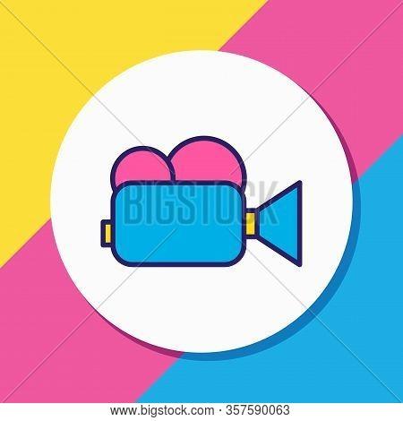 Illustration Of Video Camera Icon Colored Line. Beautiful Technology Element Also Can Be Used As Cam