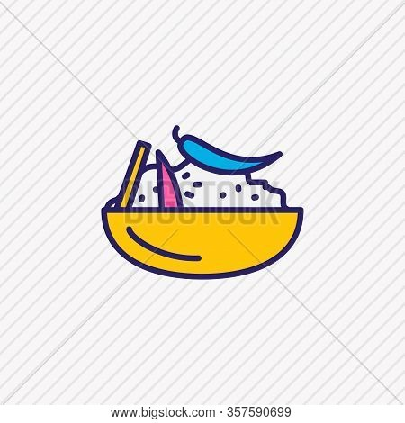 Vector Illustration Of Moroccan Couscous Icon Colored Line. Beautiful International Food Element Als