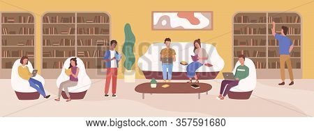 Young People At Modern Public Library Vector Flat Illustration. Focused Man And Woman Reading Book,