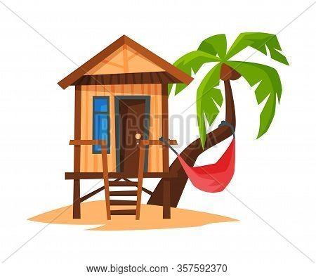 Tropical Beach Bungalow On Coast Of Sea Or Ocean, Beach Wooden Hut For Summer Vacation Vector Illust