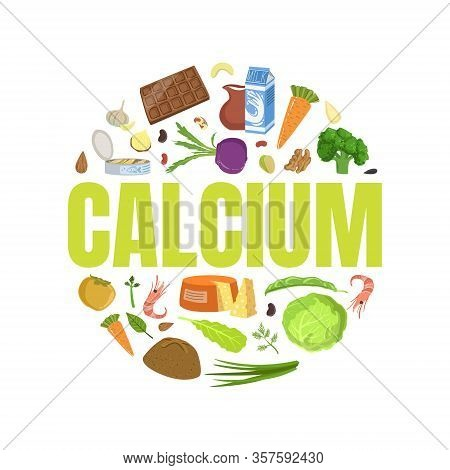 Calcium Banner Template With High Calcium Food Products Of Round Shape Vector Illustration