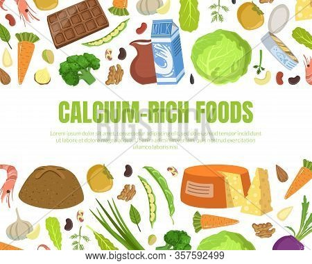 Calcium Rich Foods Banner Template, High Calcium Food Products And Space For Text Vector Illustratio