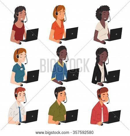 Collection Of Call Center Operators, Male And Female Online Customer Support Service Assistants With