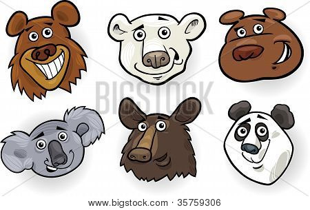 Cartoon Bears Heads Set