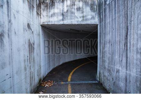 Roadway. Tunnel. Left Right. No People. No Cars. No One. Manzano, Friuli-venezia Giulia. Italy