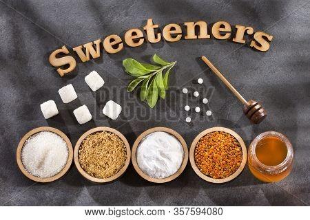 Sweetener Phrase - Pollen, Honey, Sugar And Stevia Leaves,
