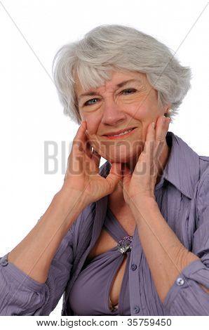Senior Citizen Lady smiling isolated on a white background