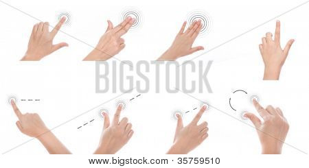 Group of Women hand use multi-touch gestures for tablets or touch screen device