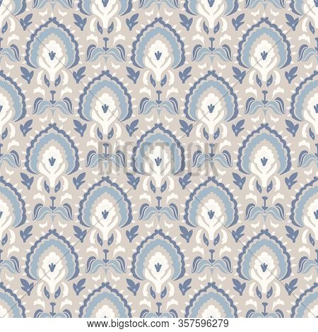 French Blu Paisley Shabby Damask Vector Texture Background. Antique White Blue Buta Seamless Pattern