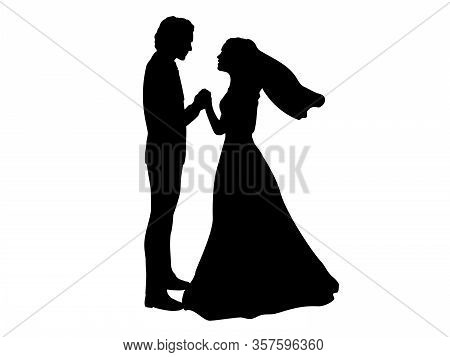 Silhouette Of Bride And Groom Holding Hands. Illustration Icon Symbol