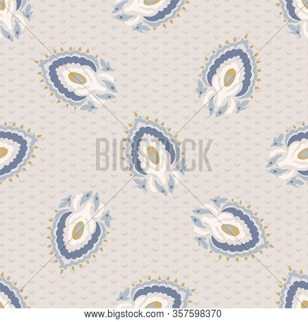 French Blu Shabby Chic Paisley Vector Texture Background. Antique White Yellow Blue Seamless Pattern
