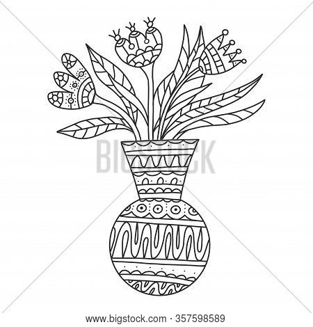 Vector Dodle Floral Illustrated In Black And White. Bouquet Of Flowers In A Vase. Coloring Book Flow