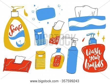 Personal Hygiene Set. Liquid Soap Bottle With Dispenser, Hand Sanitizer, Wet Tissues And Paper Towel