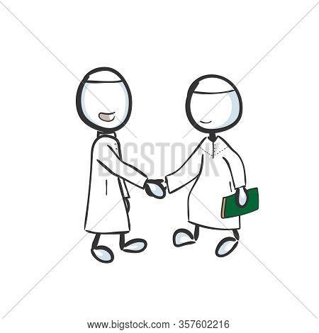 Muslim Brothers Giving Salaam. Muslims Greeting Handshake. Hand Drawn. Stickman Cartoon. Doodle Sket