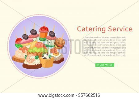 Catering Service Of Restaurant Food Delivery For Party With Dishes From Menu, Canape Vector Illustra