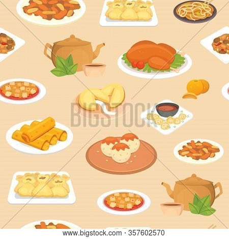 Chinese Food Oriental Street, Restaurant Or Homemade Food Seamless Pattern For Ethnic Menu Vector Il