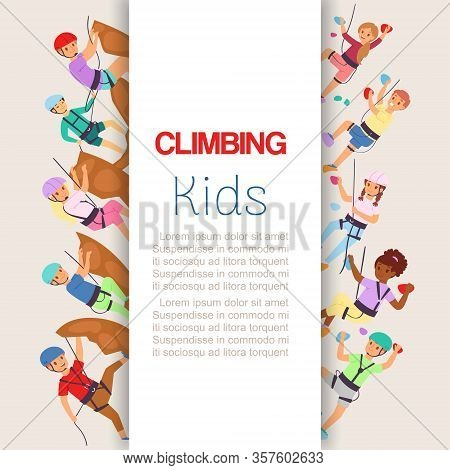 Wall Climbing Kids, Sport Children In Sportive Gear Scaling Wall Poster With Space For Text Cartoon