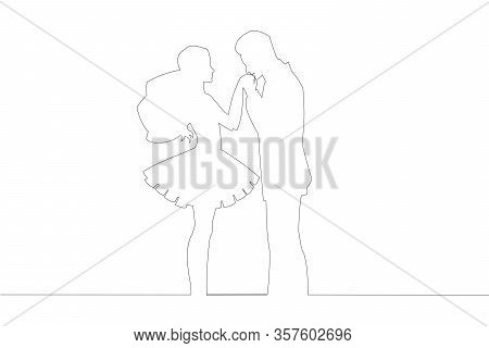 Newly Wed Pair Countur Line Drawing Outline Wedding Vector Illustration. Simple Wedding Countur Isol