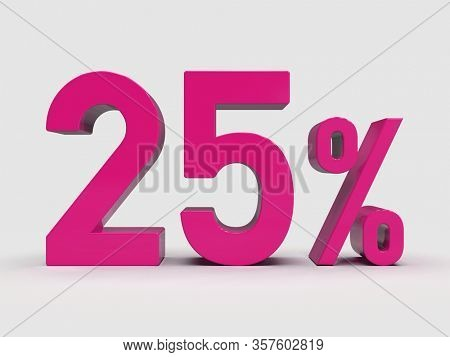 3d Render: Pink 25% Percent Discount 3d Sign on White Background, Special Offer 25% Discount Tag, Sale Up to 25 Percent Off,  Twenty-five Percent Letters Sale Symbol, Special Offer Label, Sticker, Tag
